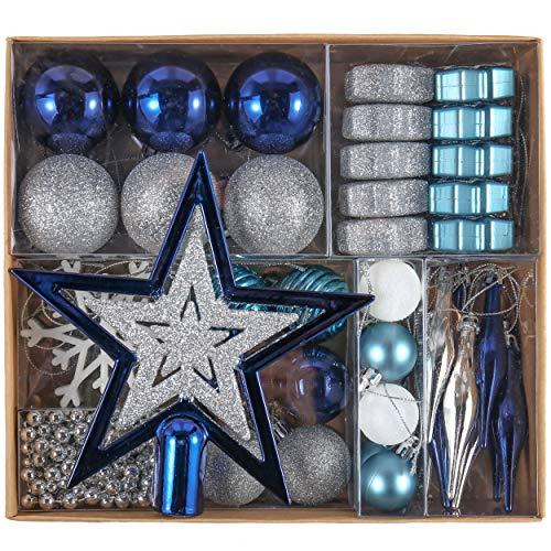 Valery Madelyn Palle di Natale 52 Pezzi di Palline di Natale, 3-5 cm Auguri Invernali Argento e Blu Infrangibili Ornamenti Palla di Natale Decorazione per la Decorazione Dell'Albero di Natale