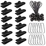 Olgaa 12 Pack Tarp Clips, Heavy Duty Tarp Clips with Tighten Lock Grip Thumb Screw Tent Clip for Holding Up Tarp, Canopy…