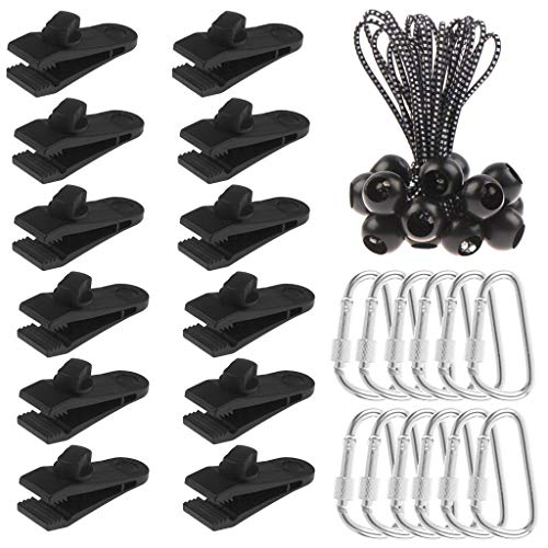 Olgaa 12 Pack Tarp Clips, Heavy Duty Tarp Clips with Tighten Lock Grip Thumb Screw Tent Clip for Holding Up Tarp, Canopy, Sun Shade, Car Cover, Boat Cover and Pool Cover
