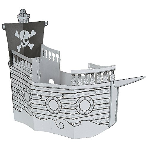 Coloring Pirate Ship Playhouse - DIY Cardboard Fort for Kids - Folds easily for storage.