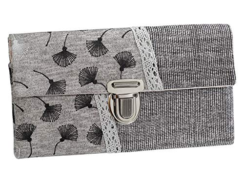 Damenbörse Damen Geldbörse Portemonnaie Stoff Pusteblume Karo Grau Handmade