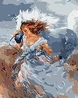 子供のための数字による色 青い馬の女の子 DIYキャンバスオイルキッズビギナーアクリルブラシの番号キット絵画デジタルキット、家の壁の装飾16x20インチでペイント絵画