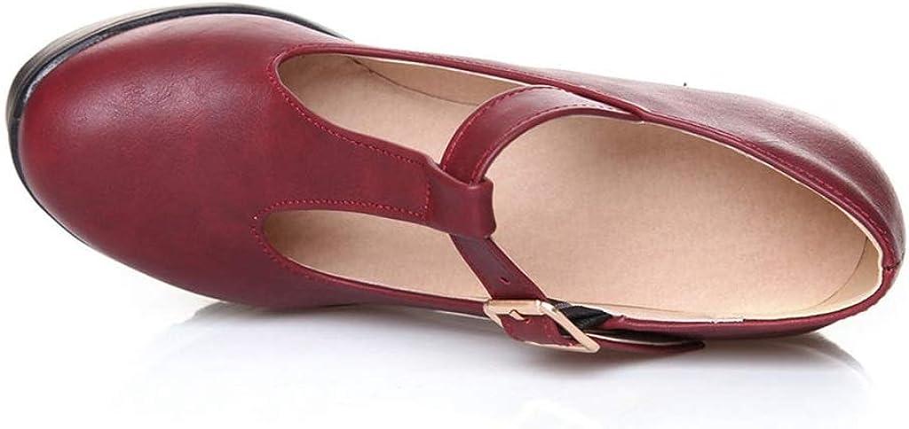 Piattaforma da Donna Tacchi Alti Moda Punta Tonda Cinturino con Fibbia Spessa Mary Jane Scarpe Autunno Casual Party Dress Pompe Taglia 34-43
