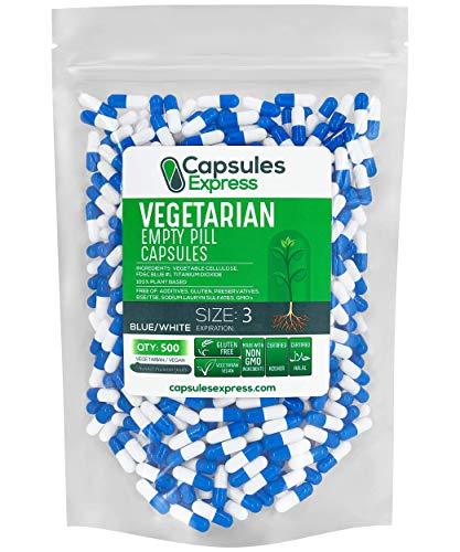 Capsules Express- Size 3 Blue and White Empty Vegan Capsules Vegetarian / Vegetable Pill Capsule DIY Powder Filling (500)