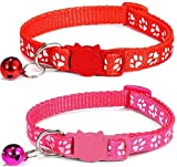 ZACAL 2 x Cat Collars with Bell Safe Quick Release Buckle   Adjustable to Fit All Domestic Cats   PACK OF 2 (RED & ROSE)