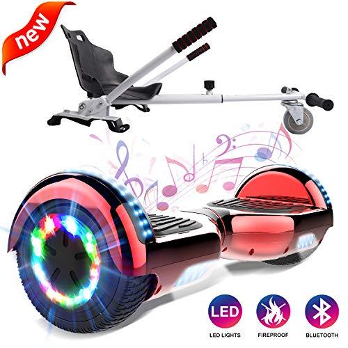 GeekMe Self Balance Elektro Scooter mit Hoverkart, Elektroroller mit Hoverboards, Balance Board + Go-Kart 6,5 Zoll mit Bluetooth-Lautsprecher, LED-Leuchten, Geschenk für Kinder