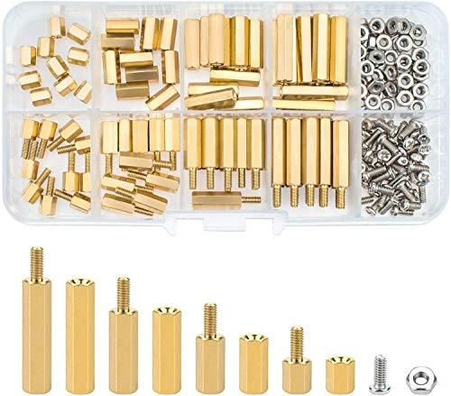 六角スペーサー セット 180個 M2.5六角真鍮 黄銅 六角ねじ ボルトナット 耐久性 基板の固定 電子 精密機械に使用 収納ケース付き
