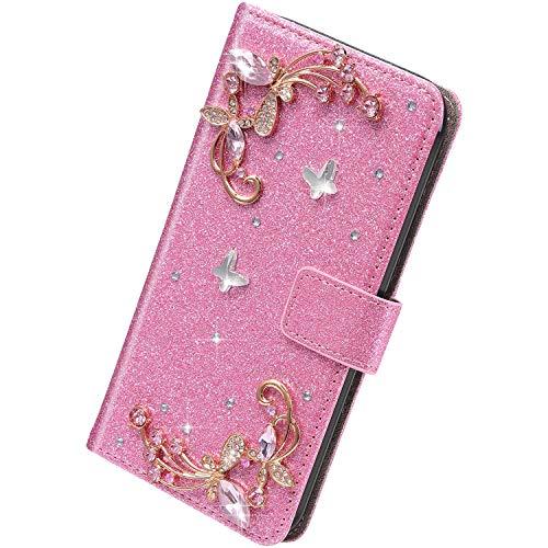 Herbests Kompatibel mit iPhone SE/iPhone 5S Hülle Klapphülle 3D Glänzend Bling Diamant Strass Schmetterling Muster Schutzhülle Bookstyle Flip Cover Leder Hülle Kartenfach Ständer,Rosa