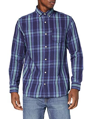 Jack & Jones JJBYRON Shirt LS Camisa, Dark Azul Denim, L para Hombre