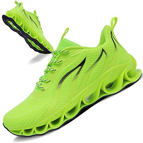 TIAMOU Running Shoes Men Walking Shoes Sneakers Mesh Breathable Fashion Youth Walking Shoes Green