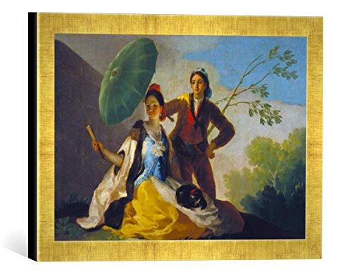 Gerahmtes Bild von Francisco José de Goya Der Sonnenschirm, Kunstdruck im hochwertigen handgefertigten Bilder-Rahmen, 40x30 cm, Gold Raya