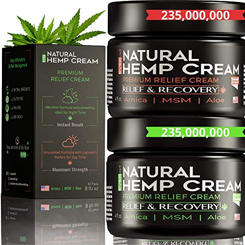 (2 Pack) Hemp Pain Relief Cream - Hemp Cream for Pain Relief and Inflammation | Relieves Knees, Joints & Back Muscle | Made in USA | Natural Hemp Oil Extract with MSM & Arnica | 8oz