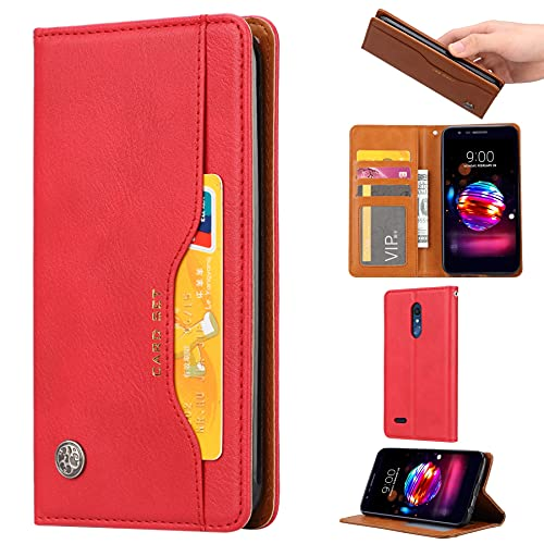 ZHIWEI Caso del tirón del teléfono Funda de Billetera de Cuero para LG K10 2018 Cubierta DE Cuero con Tarjeta Slot PATCHERSTERST SOFTSION Soft TPU Cáscara Interior (Color : Red)
