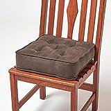 HOMESCAPES Cojín Acolchado en Cuero Terciopelo para sillas de 40 cm x 40 cm x 10 cm de Color Chocolate