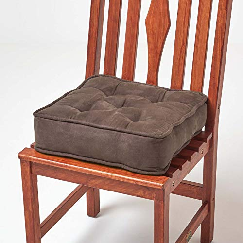 HOMESCAPES Brown Dining Chair Booster Cushion Large Firm 40 cm Square Seat Pad with Supportive 10 cm Thick Lift Soft Chocolate Faux Suede Cushion For The Elderly, Post-Operative and Pregnancy