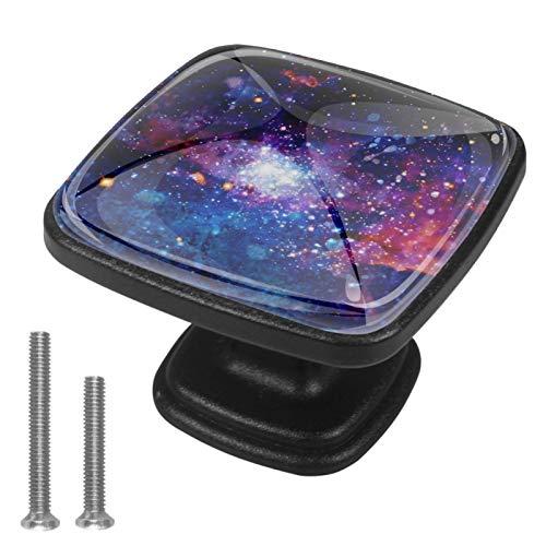 4 pomos de cristal para puerta de armario y cajón, diseño de galaxia
