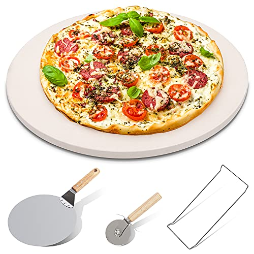 PENTAQ 4 PIECES PIZZA STONE SET 15 PIZZA STONE FOR GRILL AND OVEN 10 INCH STAINLESS STEEL PIZZA PEEL SERVING RACK AND PIZZA CUTTER FOR FREE CORDIERITE ROUND BAKING STONE