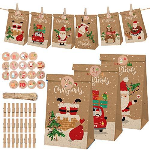 ZOTO DIY Adventskalender zum Befüllen, 24 Tüten zum individuellen Gestalten und zum selber Füllen Weihnachtskalender mit Weihnachtsmuster und Zahlen Aufkleber, Geschenktüten Für Weihnachtsdekoration