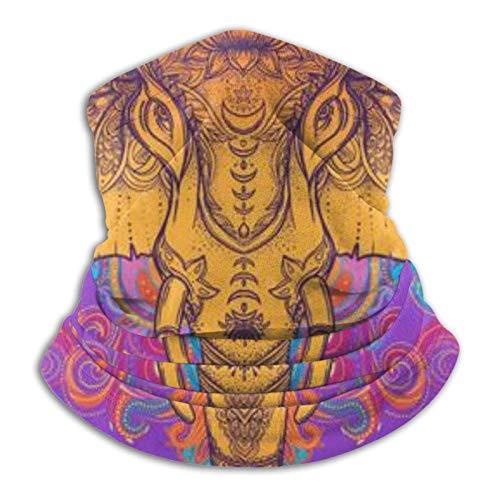 Hermoso elefante dibujado a mano en estilo tribal transpirable pasamontañas casual polaina para el cuello unisex senderismo museo aquí y allá