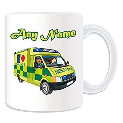 Personalised Gift - UK Ambulance Mug (Transport Design Theme, White) - Any Name / Message on Your Unique - NHS Van Vehicle Hospital St John Red Cross Paramedic Emergency Services 999 Driver Automobile by ePorter