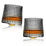 Whiskey glasses,Rotatable Decompression-8 Oz old fashioned whiskey glasses set of 2,bar whiskey glasses,style glassware for bourbon,perfect Idea for scotch lovers,glasses for scotch, rum glasses