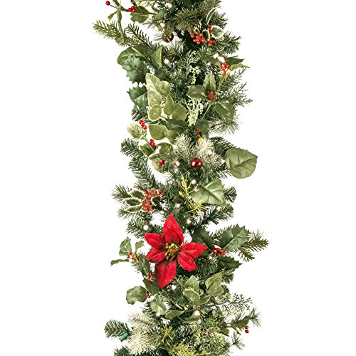 decorated christmas garland with battery operated clear lights - Battery Operated Christmas Garland
