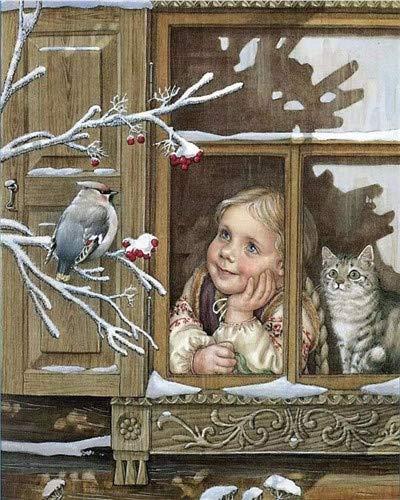 XDXART DIY olieverf op nummer kit voor kinderen volwassenen Beginner 16x20 inch - kleine mus buiten het raam, tekening met borstels kerstdecoratie geschenken Zonder frame