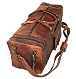 30' Inch Real Goat Vintage Leather Large Handmade Travel Luggage Bags in Square Big Large Brown bag Carry On (28 inch)