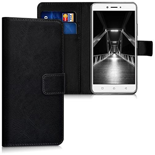 kwmobile Lenovo K6 Note Hülle - Kunstleder Wallet Case für Lenovo K6 Note mit Kartenfächern & Stand - Schwarz