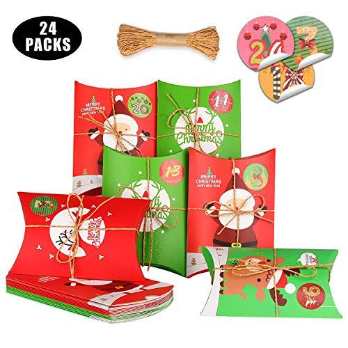 KATELUO 24 Pezzi Scatole Regalo Natale,Confezioni Regalo Dolcetti, scatole bomboniere,Scatole per Torta Decorative per Il Natale i Regali di Compleanno e Il Partito