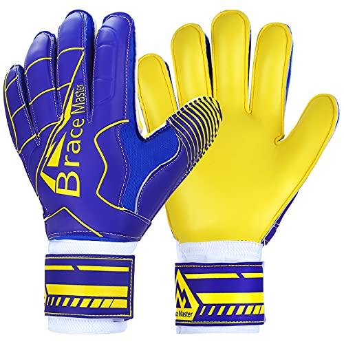 Brace Master Torwarthandschuhe mit Fingerschutz,Protect & Super-Grip 3+3MM Handflächen Fussball Torwarthandschuhe Kinder Herren & Erwachsene - Diverse Größe und Farben (9, Blau + Gelb)