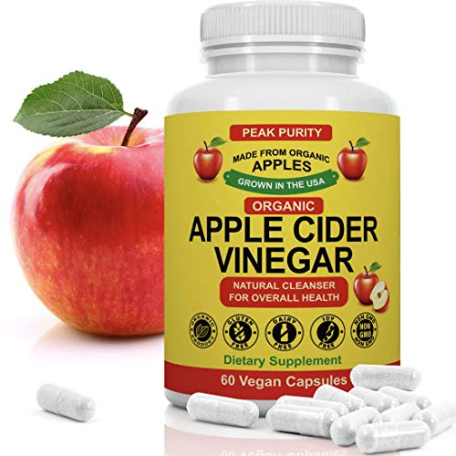 100% Organic Raw Apple Cider Vinegar Capsules - Natural Detox Gut Cleanse & Healthy Digestion - Tasteless & Easy to Swallow - Extra Strength ACV Pills - 1000 mg