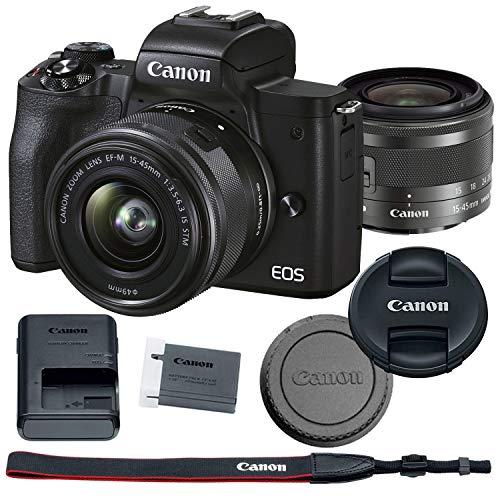 Canon EOS M50 Mark II Mirrorless Digital Camera Bundle + 15-45mm Lens (Black) - 4728C006