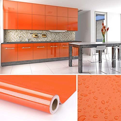 KINLO Papel de Cocina Naranja 60x500cm de PVC Adhesivo para Armario Cocina Papel Adhesivo para Muebles Papel Impermeable Autoadhesivo para Armario de Cocina Papel Decorativo con Brillo