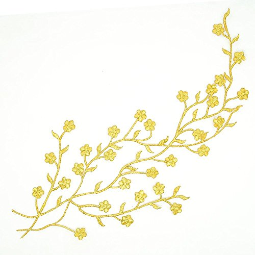 Cutehill Handmade 13.38' (34cm) Big Golden Flower Leaf Vines Embroidery Applique Patch, Plum Blossom Flower Patch, Iron on Applique, Flower Applique Patch