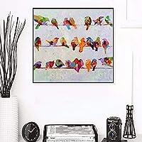 ワイヤー上の鳥油絵ポスターとプリント壁アート装飾的な絵キャンバス絵画リビングルームの家の装飾50x50cmフレームレス