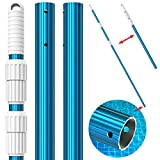 CKE Upgraded 15 Foot Thicken 1.3mm Blue Aluminum Telescoping Swimming Pool Pole,Adjustable 3 Piece Expandable Step-Up,Attach Connect Skimmer Nets,Rakes,Brushes,Vacuum Heads with Hoses, Universal 1.25'