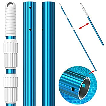 CKE Upgraded 15 Foot Thicken 1.3mm Blue Aluminum Telescoping Swimming Pool Pole,Adjustable 3 Piece Expandable Step-Up,Attach Connect Skimmer Nets,Rakes,Brushes,Vacuum Heads with Hoses Universal 1.25