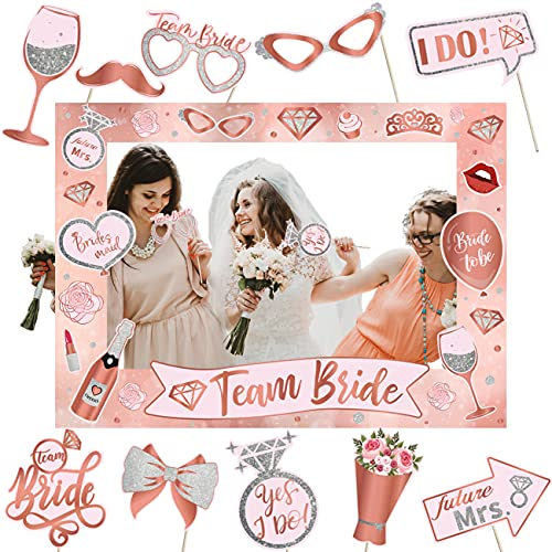 Bridal Shower Photo Booth Props- Bachelorette Decorations Including Rose Gold Photo Frame and Wedding Photo Booth Props Bachelorette Party Ideas Supplies for Women