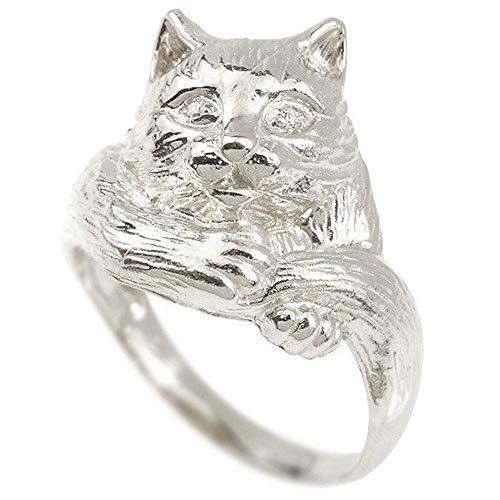 [アトラス]Atrus リング レディース sv925 スターリングシルバー ダイヤモンド 猫 幅広 指輪 宝石 11号
