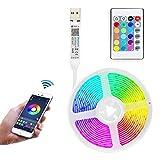 Rlevolexy Tira de luz LED para TV, Tira de LED con Control Remoto de aplicación para decoración, Dormitorio, retroiluminación de TV, 5 m / 2 m / 0,5