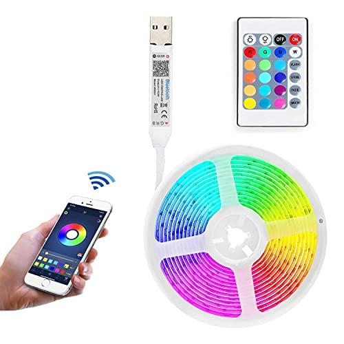 Tira de luces LED Bluetooth de 2 m, retroiluminación LED de TV con aplicación inteligente y control remoto, tiras de luces de sincronización de música para TV, dormitorio, decoración de fiesta