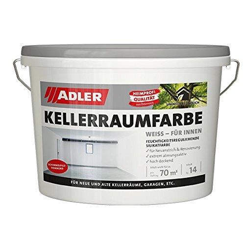 ADLER Kellerraumfarbe Weiss - extrem atmungsaktive Silikatfarbe, schimmelpilz-hemmende Wandfarbe - ideal für Keller und Garagen