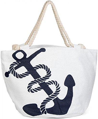 styleBREAKER Strandtasche in Flechtoptik mit Anker Print und Reißverschluss, Shopper, Badetasche, Damen 02012060, Farbe:Weiß-Navy