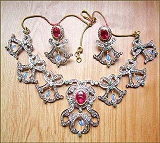 costozon uncut diamond necklace 30 Tcw Ruby, Topaz Rose Cut Diamond 925 Sterling Silver antique jewellery