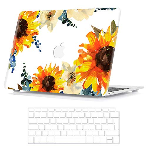 BELK Compatible with MacBook Air 13 Inch Case 2020 2019 2018 Release with Retina Display & Touch ID Model A2337 M1 A2179 A1932, Smooth Pattern Plastic Hard Shell with Keyboard Cover, Sunflower