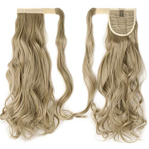 Extension Queue de Cheval Longue Postiche de Cheveux Queue de Cheval Attaché Par Mèche Synthétique 24 Pouces Wrap Around Ponytail Extension, Blond Cen