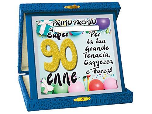 Macedonia TARGHETTA Trofeo 90 Anni Glitter Gadget Idea Regalo Festa 90° Compleanno Targa