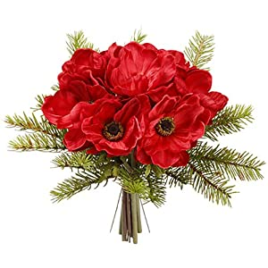 10″ Anemone & Pine Silk Flower Bouquet -Red/Green (Pack of 6)