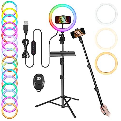 Temery 10 Zoll Ringlicht mit Stativ Handy, LED Selfie Ringleuchte Stativ mit Fernbedienung, Lichtring für Smartphone, 3 Farbtemperaturen und 26 RGB Lichtmodi für YouTube, Tik Tok, Live-Streaming